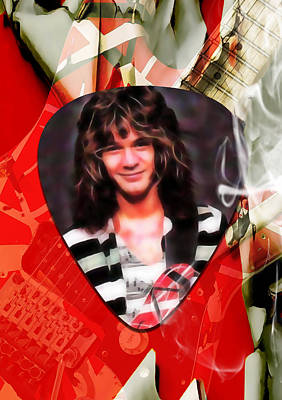 Van Halen Mixed Media - Eddie Van Halen Art by Marvin Blaine
