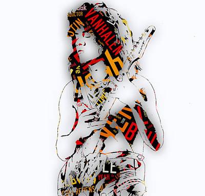 Van Halen Mixed Media - Eddie Van Halen Everybody Want's Some Lyrics by Marvin Blaine