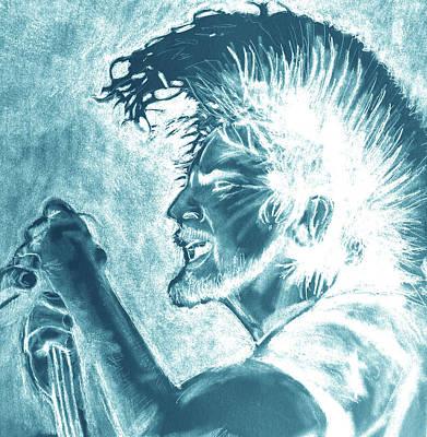 Pearl Jam Digital Art - Eddie Vedder Aqua Finish by Soma79