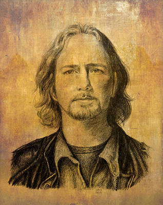 Eddie Vedder Mixed Media - Eddie Vedder - Coloured by Carina Povarchik