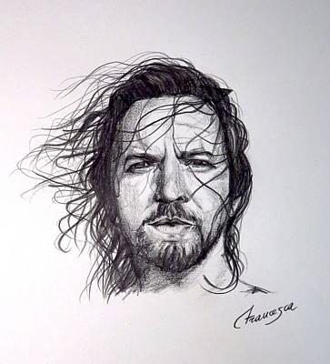 Pearl Jam Drawing - Eddie Vedder by Francesca Agostini