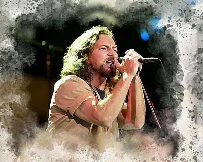 Pearl Jam Digital Art - Eddie Vedder by Karl Knox