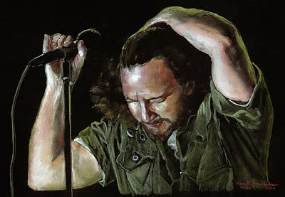 Pearl Jam Drawing - Eddie Vedder by Kenneth Williams