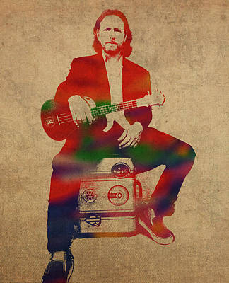 Pearl Jam Mixed Media - Eddie Vedder Pearl Jam Watercolor Portrait by Design Turnpike