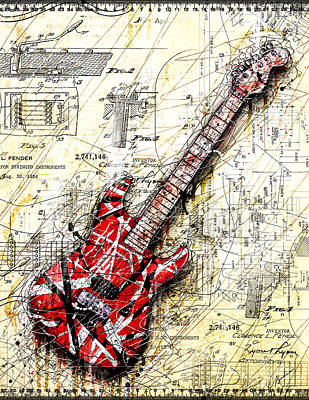 Guitars Digital Art - Eddie's Guitar 3 by Gary Bodnar