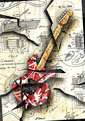 Abstract Wall Art - Digital Art - Eddie's Guitar by Gary Bodnar