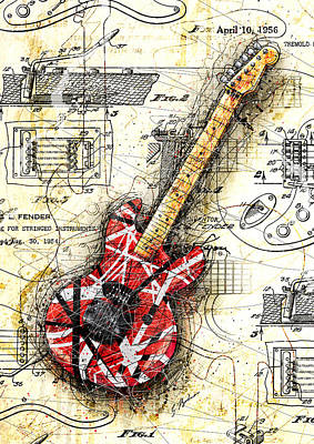 Halen Digital Art - Eddie's Guitar II by Gary Bodnar