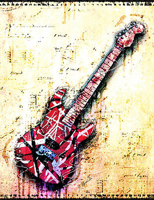 Van Halen Digital Art - Eddie's Guitar Variation 07 by Gary Bodnar
