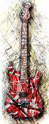 Halen Digital Art - Eddie's Guitar Vert 1a by Gary Bodnar