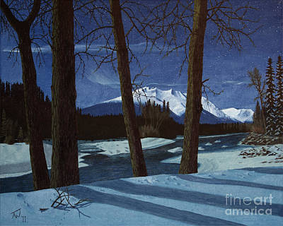 Snowy Night Painting - Eddy Park Moonlight by Stanza Widen