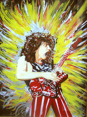Van Halen Painting - Eddy Van Halen - Eruption by Ferril Nawir