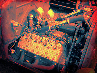 Photograph - Edelbrock Equipped Flathead Ford V8 In Red by David King