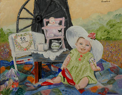 Tea Party Painting - Eden Rose's First Tea Party by Quwatha Valentine