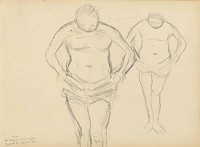 Drawing - Copies Of Cezanne's Bathers by Edgar Degas