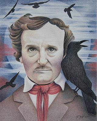 The Raven Drawing - Edgar Allen Poe Commission by Rita Niblock