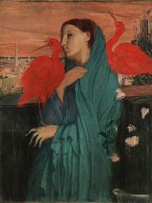 Ibis Painting - Edgar Degas by Young Woman with Ibis