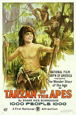 Ape Drawing - Edgar Rice Burroughs Tarzan Of The Apes 1918 by Mountain Dreams