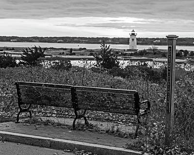 Photograph - Edgartown Ma Lighthouse At Sunrise Martha's Vineyard Cape Cod Bench Black And White by Toby McGuire