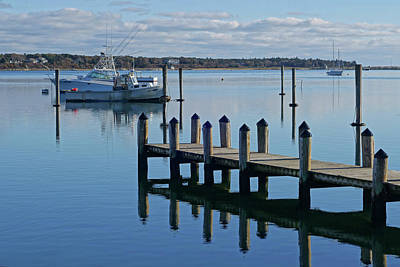 Photograph - Edgartown Ma Pier Martha's Vineyard Cape Cod Blue Water Fishing Boats Reflection by Toby McGuire
