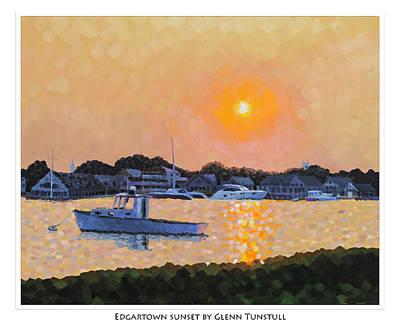Painting - Edgartown Sunset Poster by Glenn Tunstull