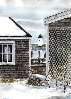 New England Lighthouse Painting - Edgartown Winter by Paul Gardner