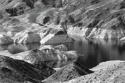Photograph - Edge Of Lake Mead Bw by Bonnie Follett
