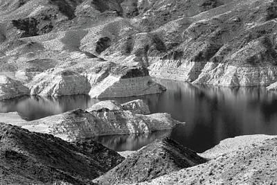 Photograph - Edge Of Lake Mead Bw by Bonnie Follett