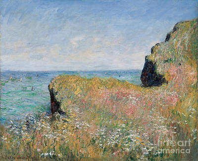 Signed Painting - Edge Of The Cliff Pourville by Claude Monet