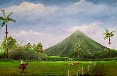 Volcano Painting - Edge Of The Rainforest Landscape by William Patterson