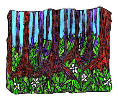 Cypress Swamp Painting - Edge Of The Swamp by Wayne Potrafka