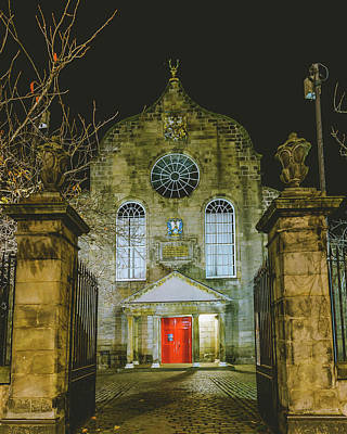 Photograph - Edinburgh Canongate Kirk By Night Entrance by Jacek Wojnarowski