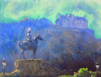 Painting - Edinburgh Castle Horse Statue by Richard James Digance