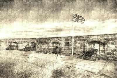 Photograph - Edinburgh Castle Scotland Vintage by David Pyatt