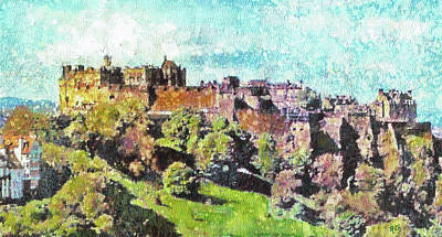 Painting - Edinburgh Castle Skyline No 2 by Richard James Digance