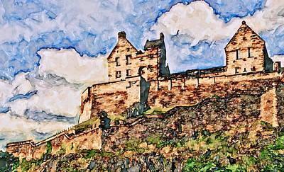 Edinburgh Castle - Western Rampart Art Print by John K Woodruff