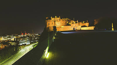 Photograph - Edinburgh Castle With View Of City In Background By Night by Jacek Wojnarowski