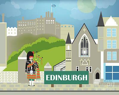 Framed Art Digital Art - Edinburgh Scotland Horizontal Scene by Karen Young