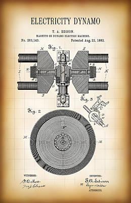 Edison Electricity Generator Dynamo  1882 Art Print