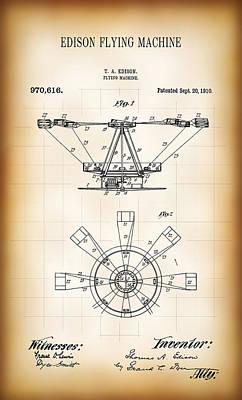 Kite Digital Art - Edison Flying Machine Patent  1910 by Daniel Hagerman