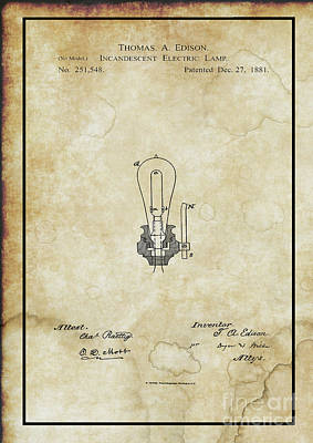 Photograph - Edison Incandescent Electric Bulb Patent  by Doc Braham