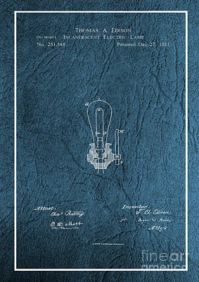Photograph - Edison Incandescent Electric Lamp Patent by Doc Braham
