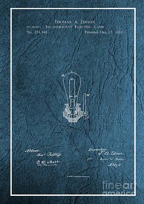 Photograph - Edison Incandescent Electric Lamp Patent by Doc Braham