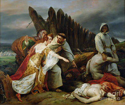 Horrors Of War Painting - Edith Finding The Body Of Harold by Emile Jean Horace Vernet