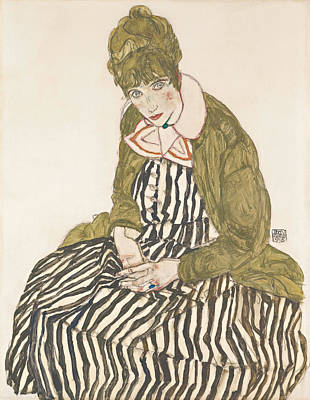 Top With Oil Painting - Edith With Striped Dress, Sitting 1915 by Egon Schiele