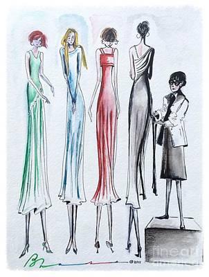 Runway Fashion Art Painting - Edith's Box by Barbara Chase