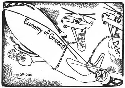 Economy Mixed Media - Editorial Maze Cartoon - Economy Of Greece By Yonatan Frimer by Yonatan Frimer Maze Artist