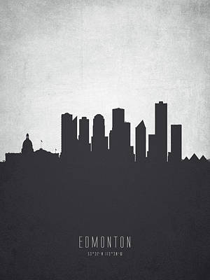 Canada Painting - Edmonton Alberta Cityscape 19 by Aged Pixel