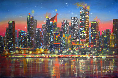 Old Street Painting - Edmonton By Night by Mohamed Hirji
