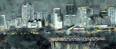 Eduardo Tavares Mixed Media Royalty Free Images - Edmonton Cityscape Painting Royalty-Free Image by Eduardo Tavares