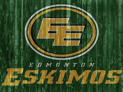 Mixed Media - Edmonton Eskimos Barn Door by Dan Sproul